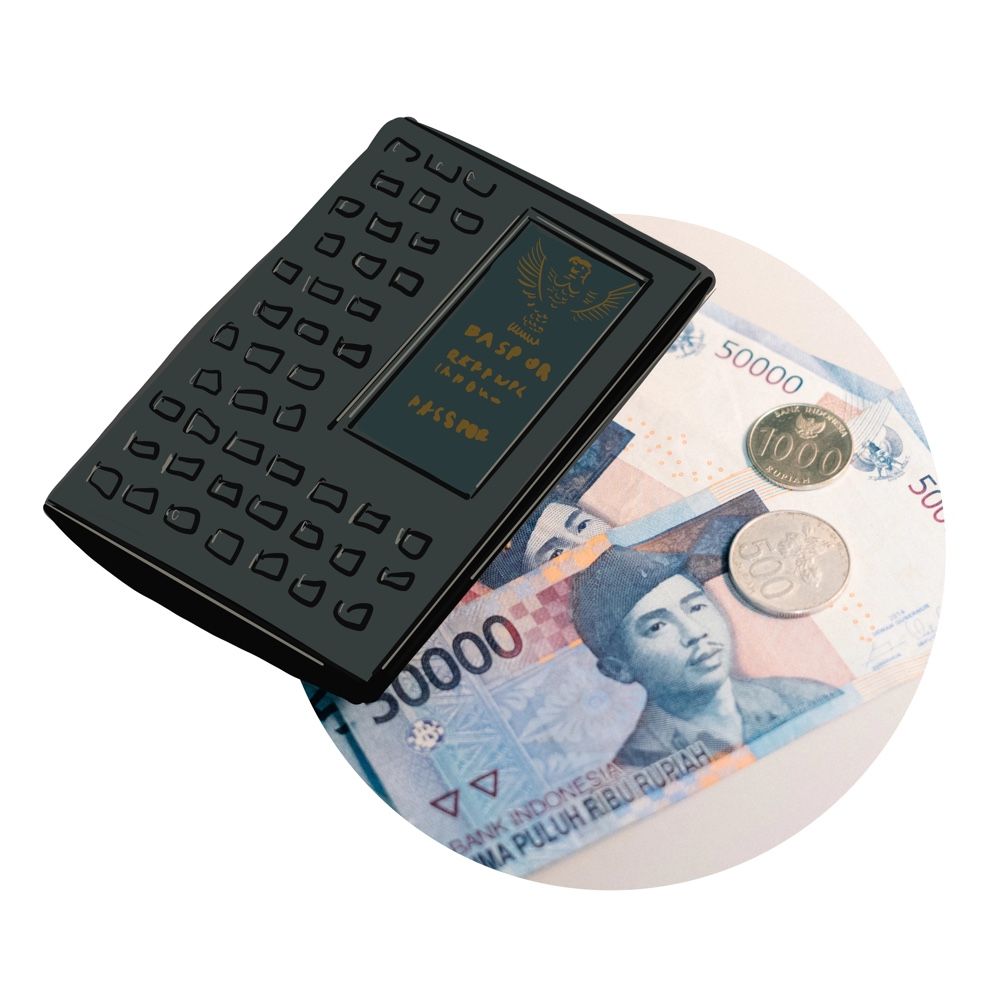 Money Wallet with Indonesian Rupiah to Pay Uber Car ion Bali