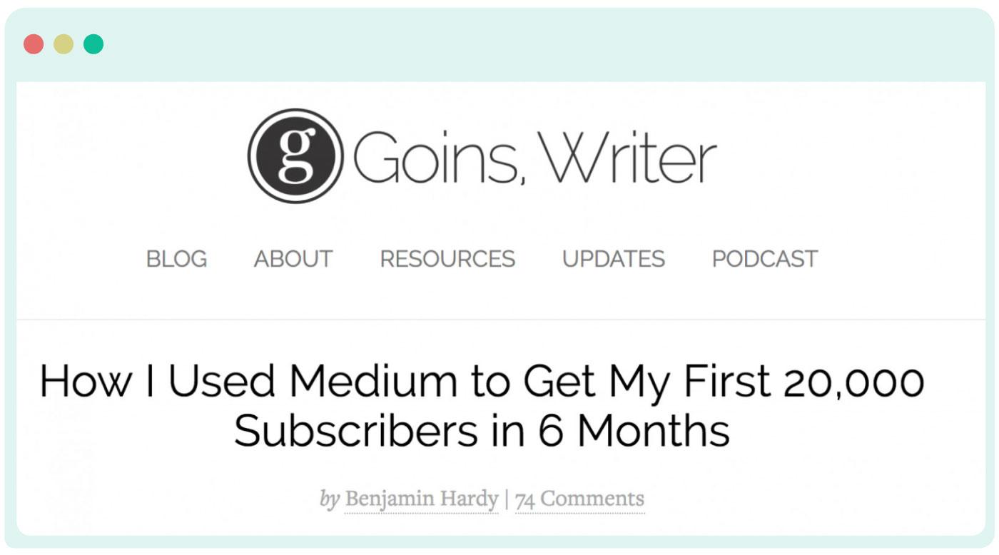 Benjamin Hardy repurposing his blog content on Medium