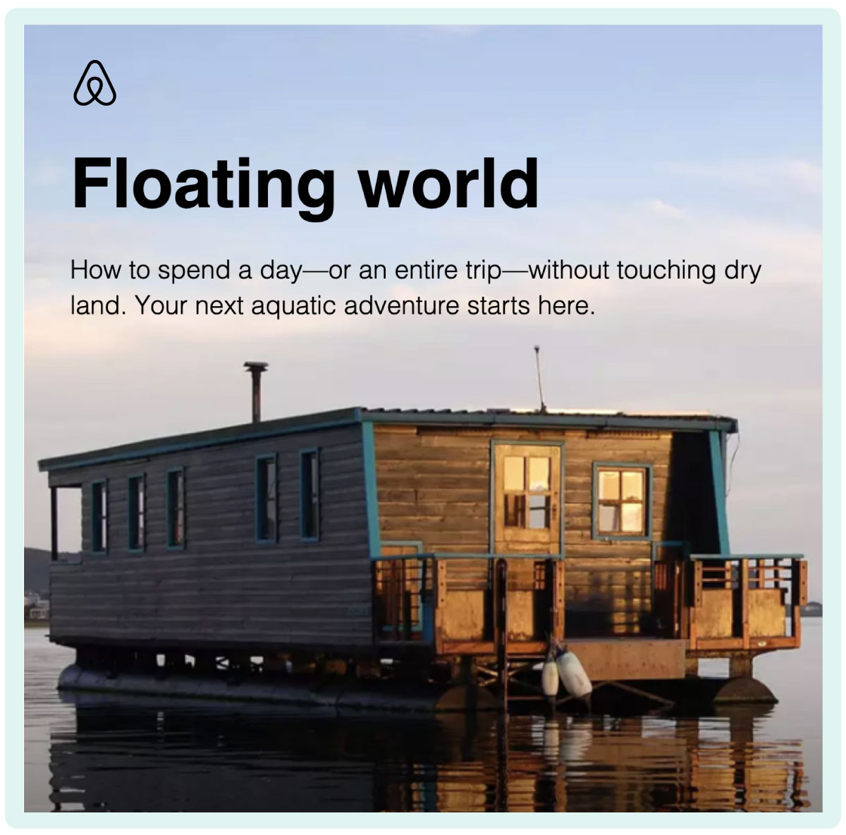 AirBnB floating world newsletter