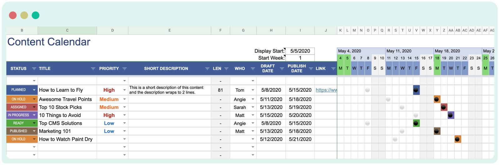 Content calendar- Excel sheet