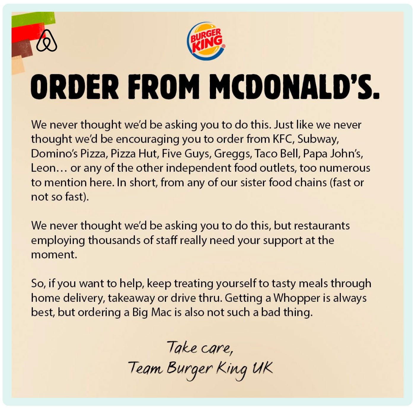 Burger King supporting McDonald's and other food outlets during the pandemic