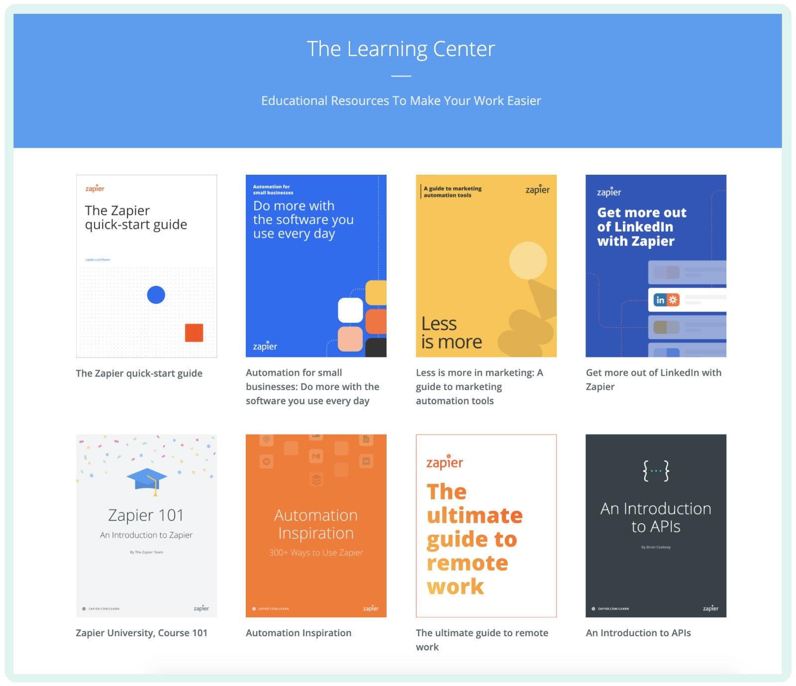 Zapier's content hub