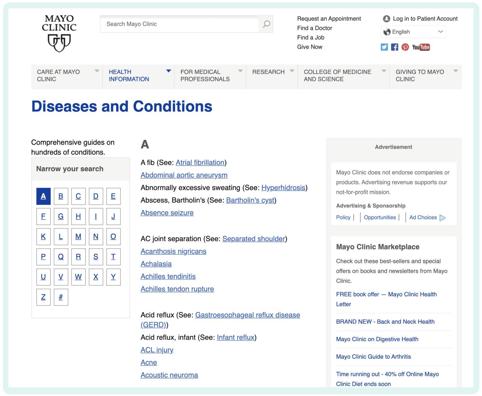 Mayo Clinic content matirix