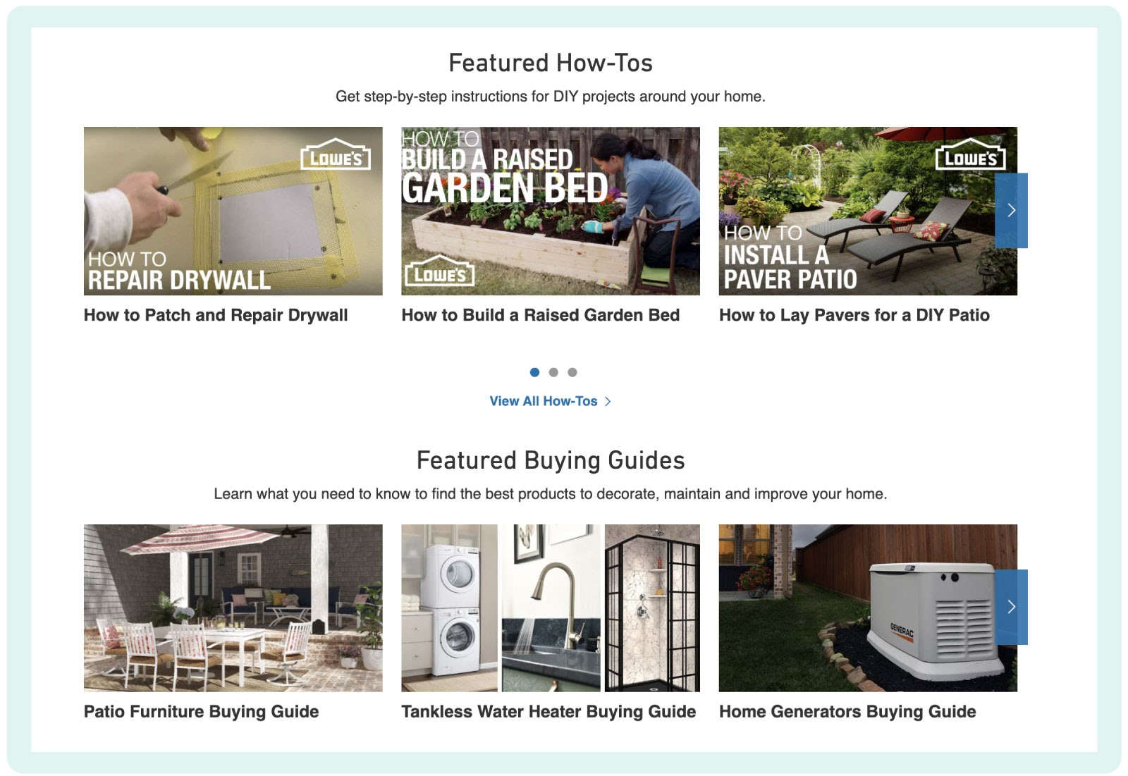 Lowe's DIY projects and ideas content databse