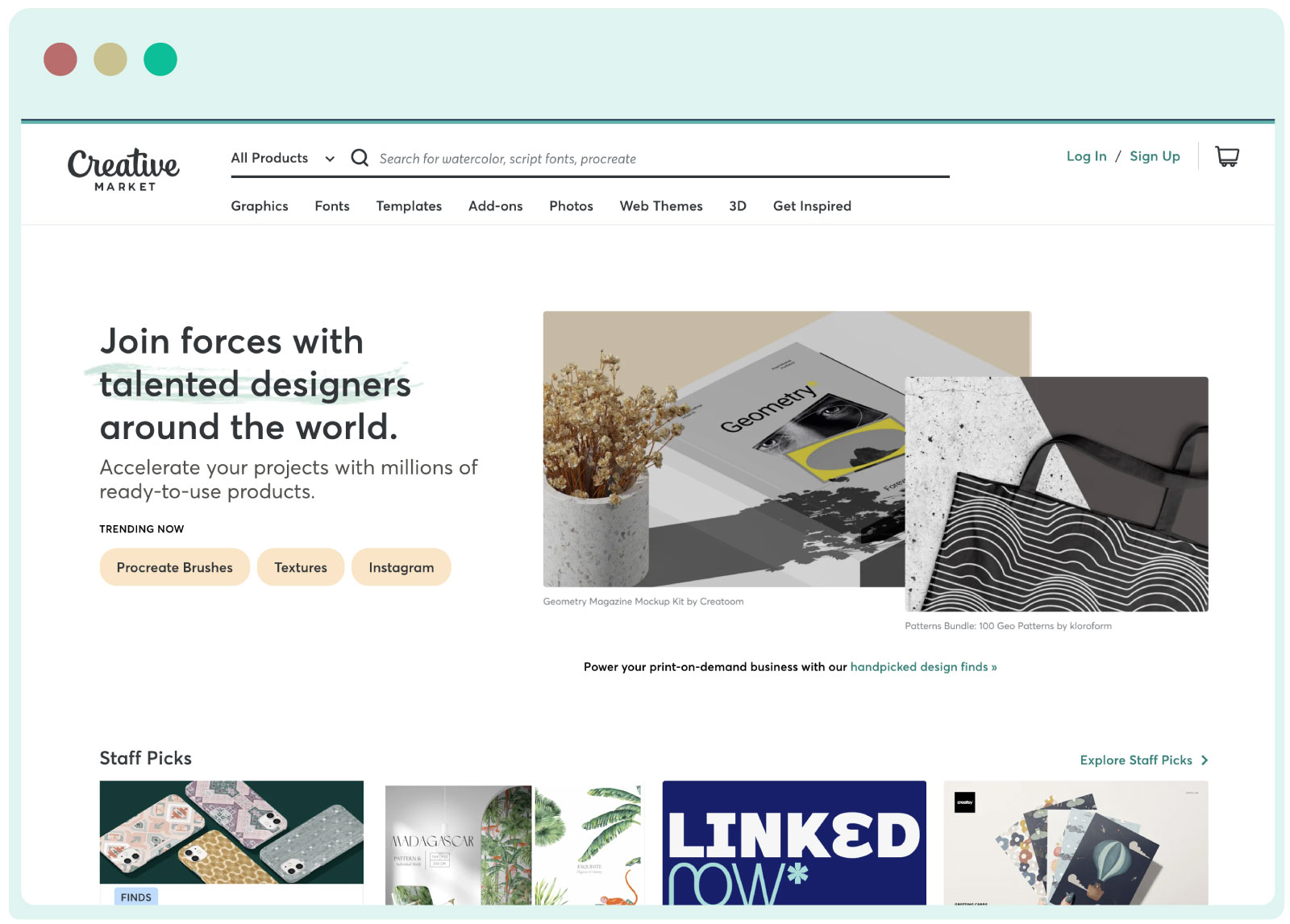 Creative Market- fonts, graphics, themes, photos, and templates