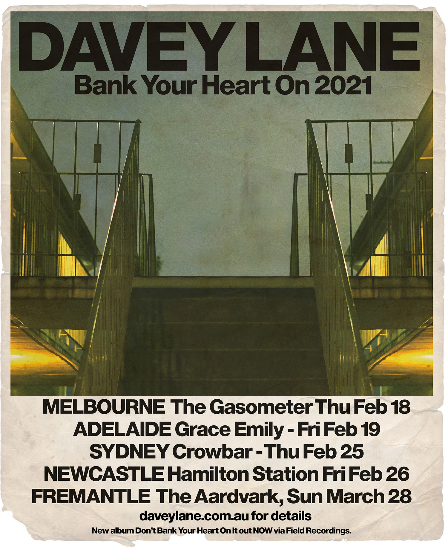 Gig poster for upcoming live shows in Melbourne, Adelaide, Sydney, Newcastle and Fremantle