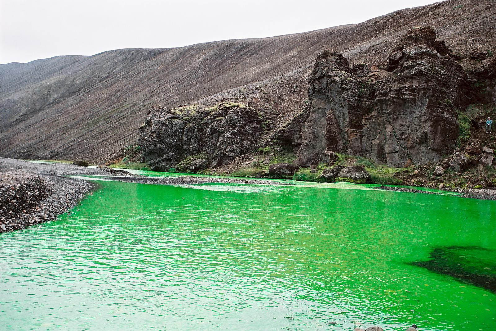 River with green dye