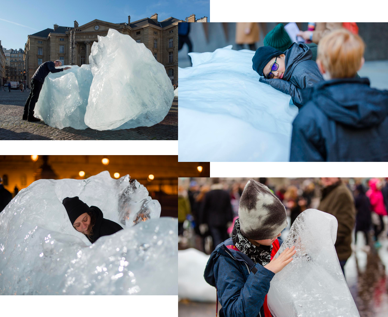 Images of individuals interacting with ice blocks