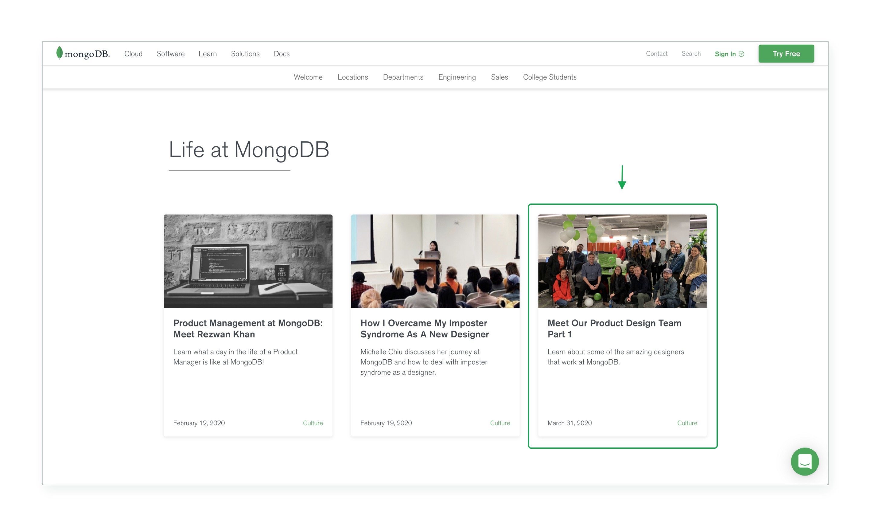 "MongoDB's career page featuring our ""Meet the Team"" blog post"
