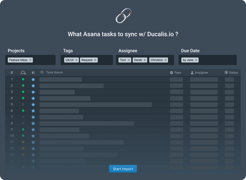 Ducalis.io task filter setting for Asana backlog