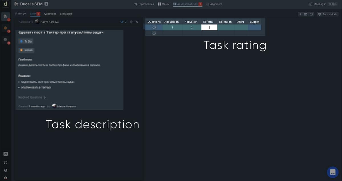 task description and rating