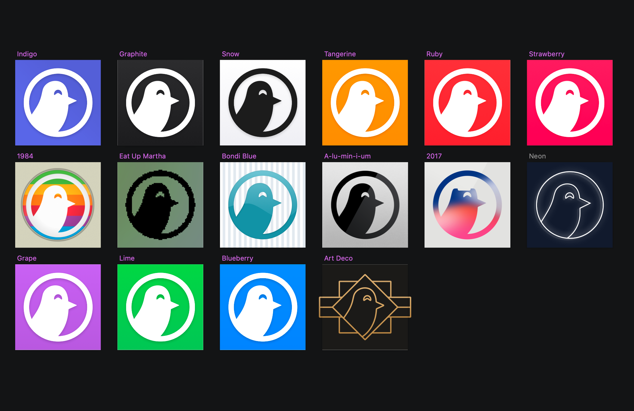 An array of the 16 custom icons bundled with Nighthawk