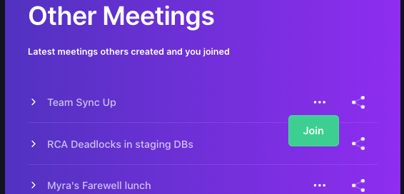 Share meeting from dashboard