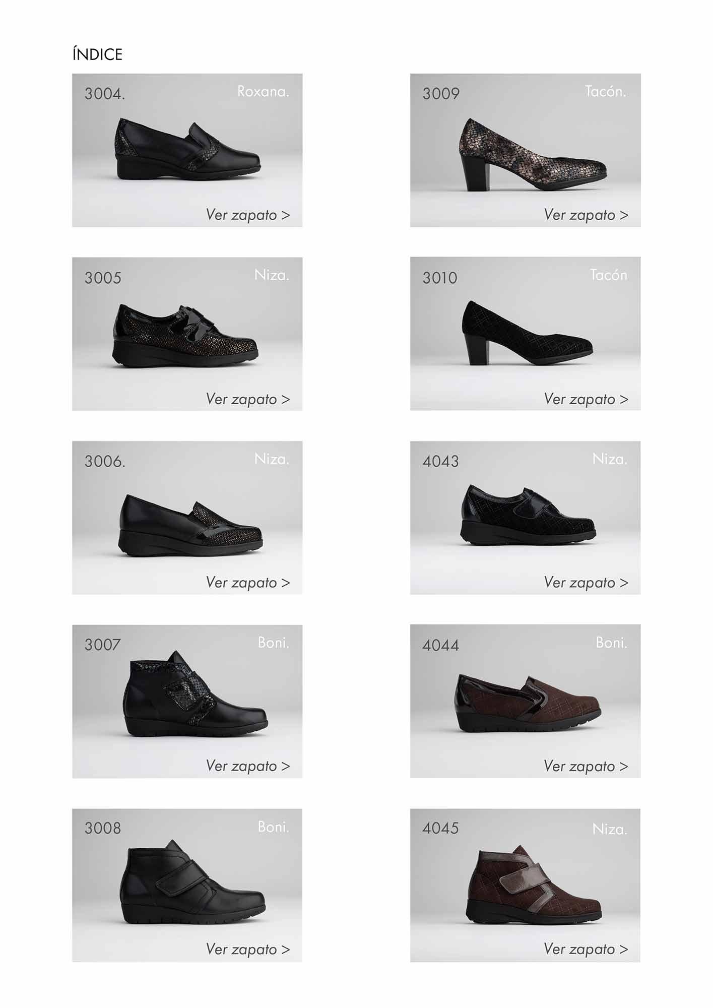 Indice de zapatos de cátalogo