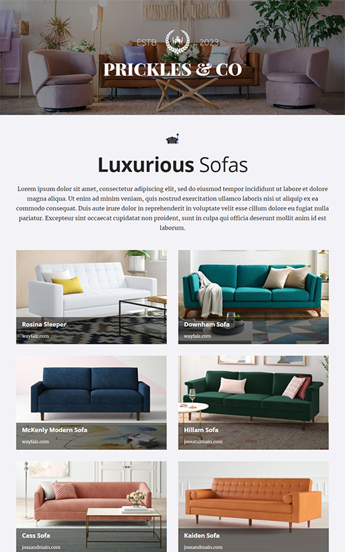 preview of a home furnishing pages template