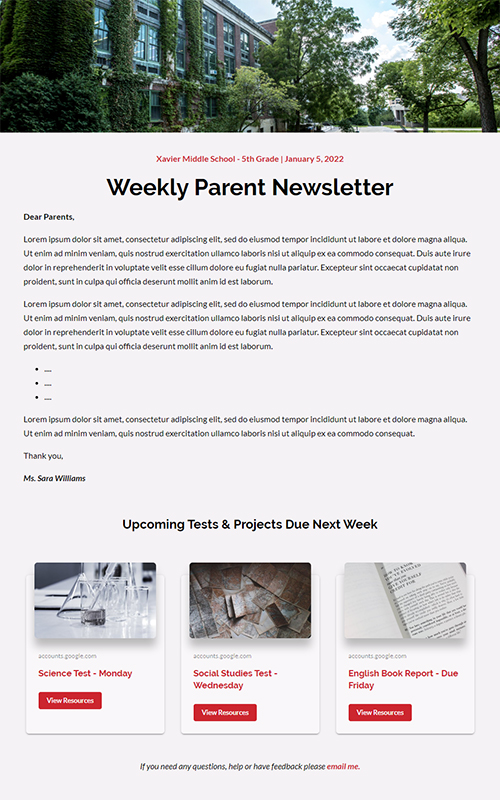 preview of a classroom news pages template