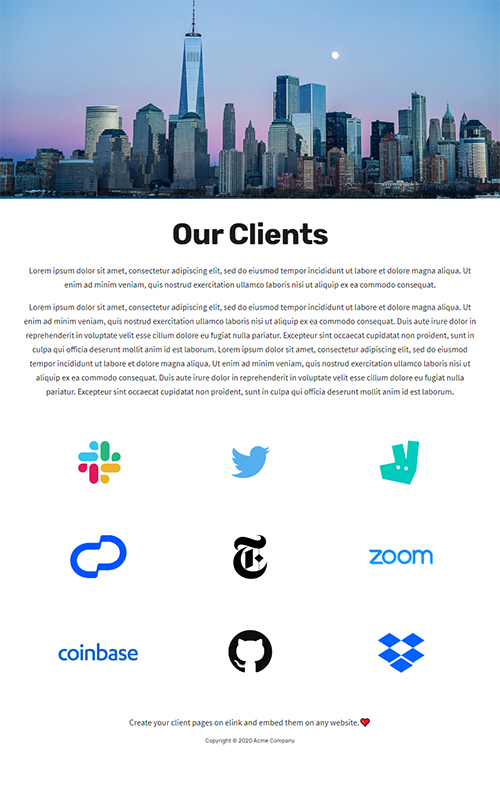 Preview of a our clients pages template