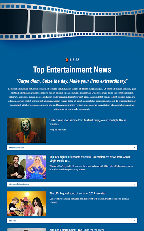 Preview of entertainment news template