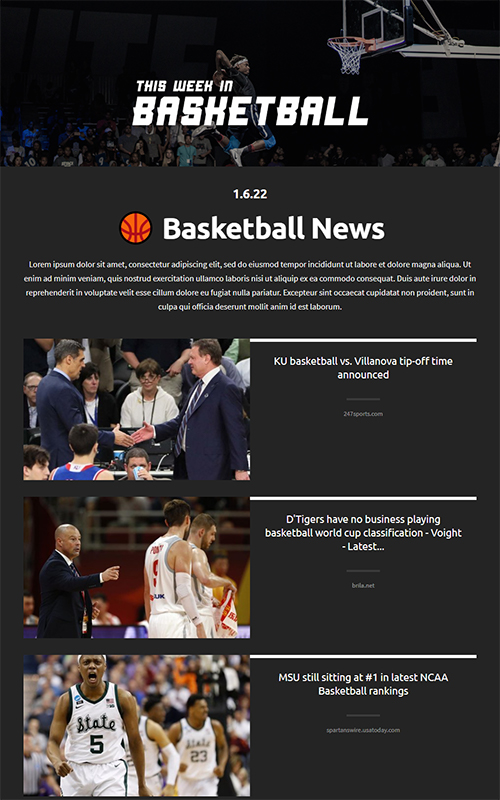 Preview of sports news template