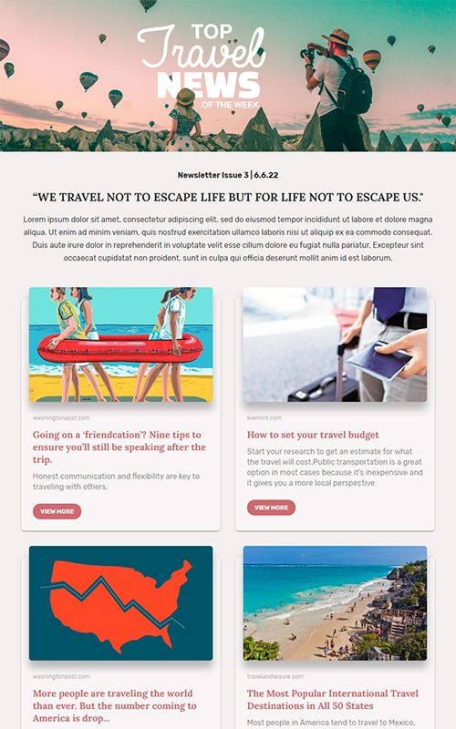 Preview of a travel news template