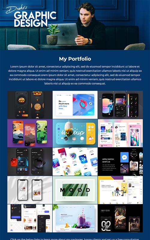 Preview of a graphic designer portfolio template