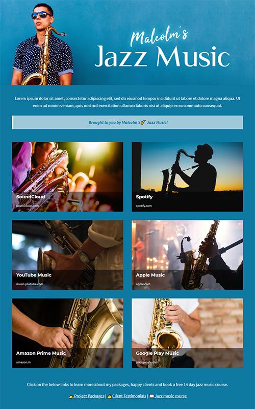 Preview of a music portfolio template