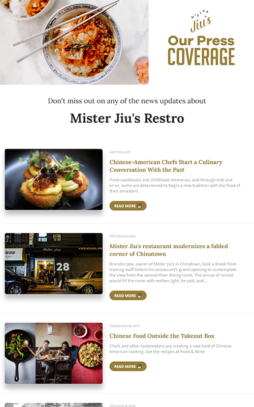 Preview of a restaurant press coverage template