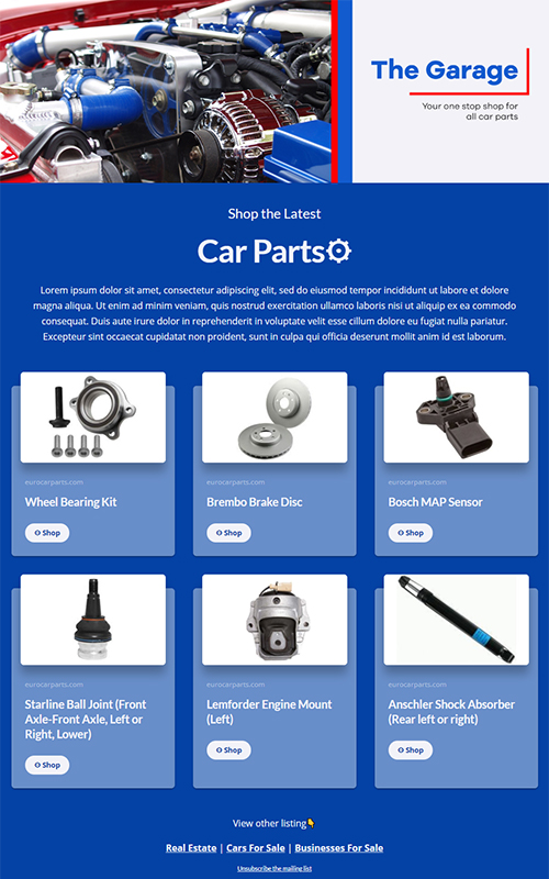 Preview of a car parts of sale template