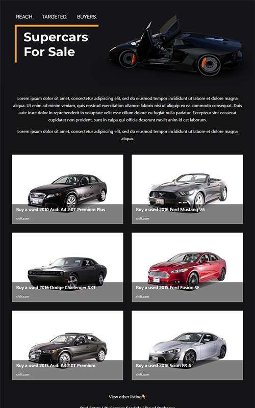 Preview of a cars for sale template