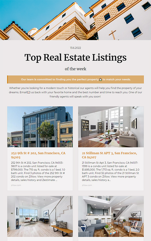 Preview of a real estate property listing template