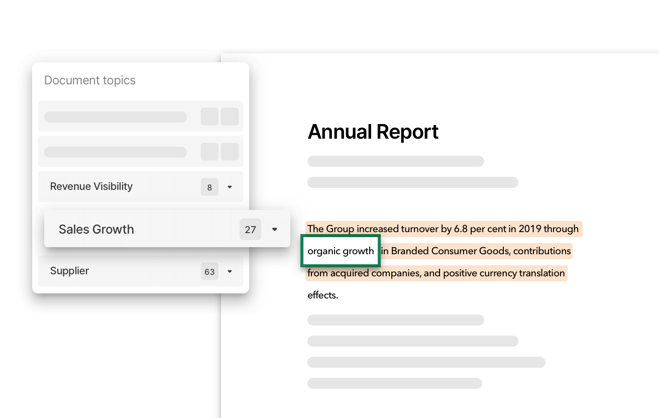 Snapshot of Machine Learning powered document search to find relevant non-financial data for all companies and peers