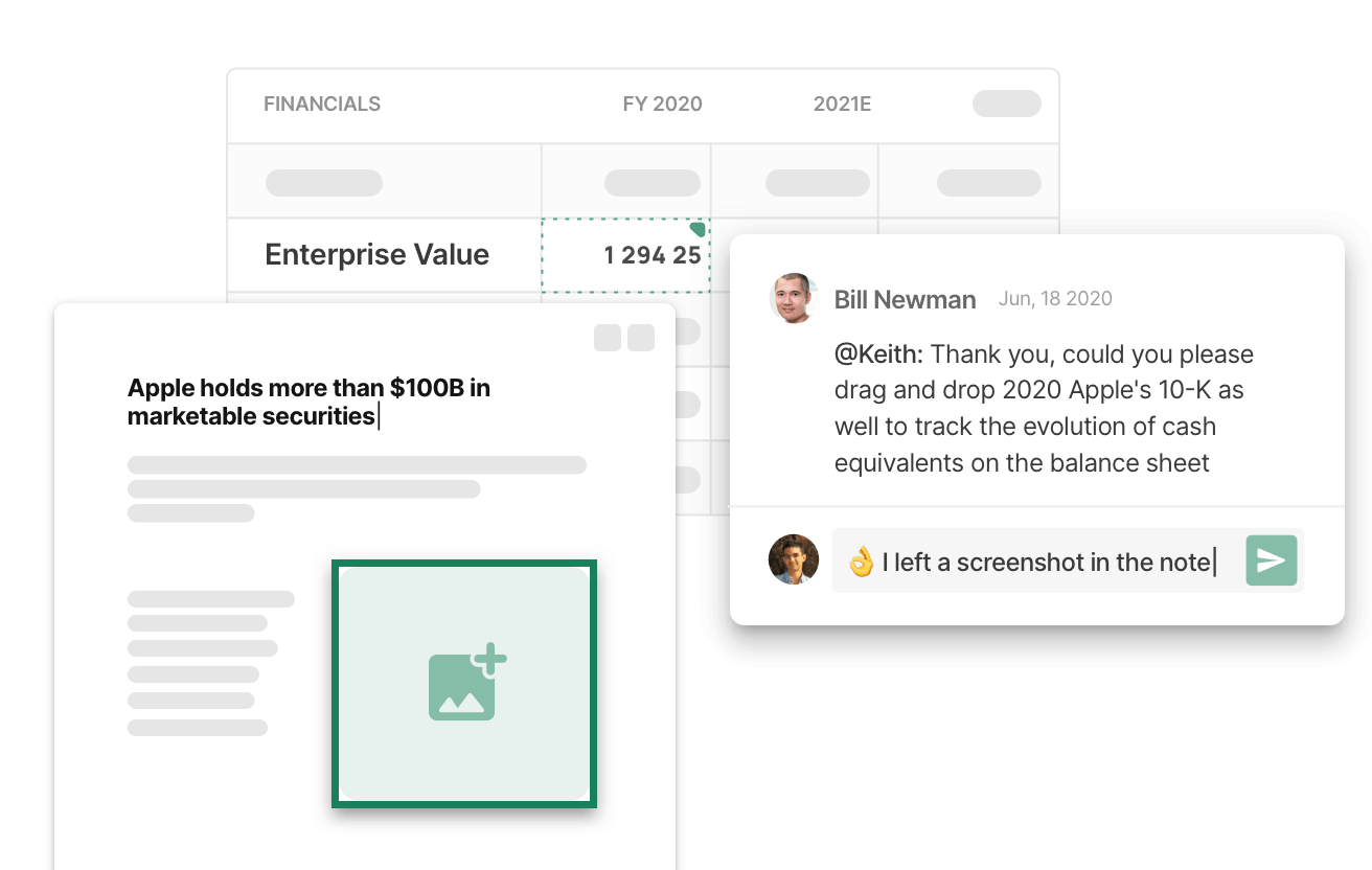 Snapshot of an intuitive collaboration tool to centralize all due diligence insights and research in a secure and unified platform