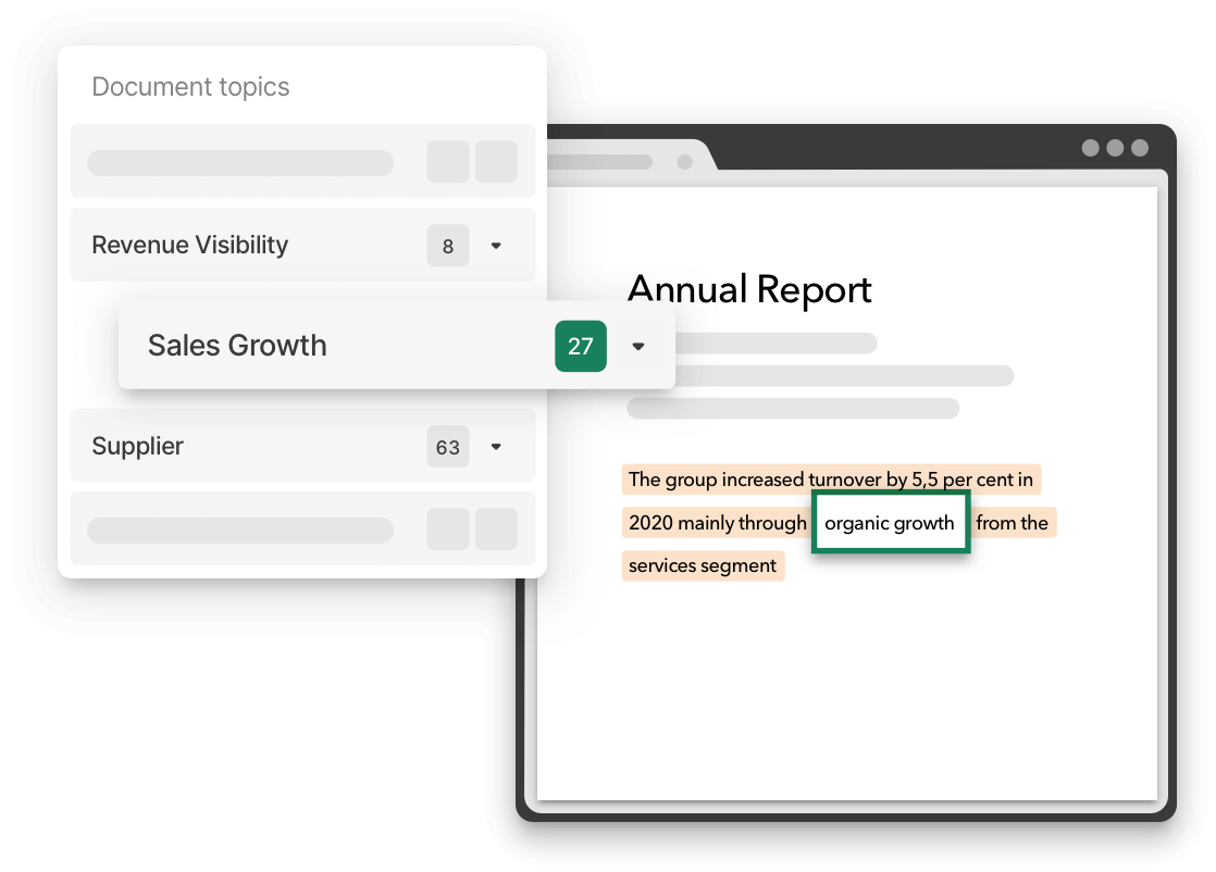 Insights generated in an annual report using Thread's document reader
