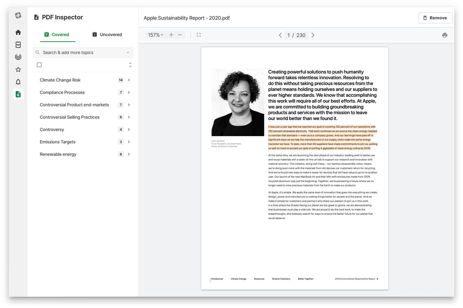 Text highlighting and insight detection with Thread's smart document reader