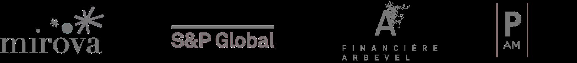 Mirova, S&P global, Financière Arbevel, Pleiade logos