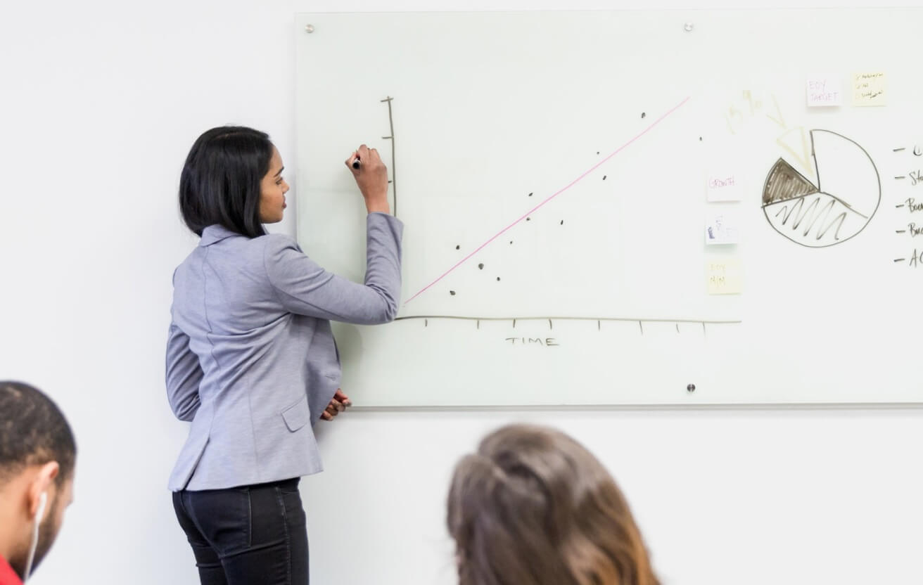A private equity analyst listing her investment insights on a white board