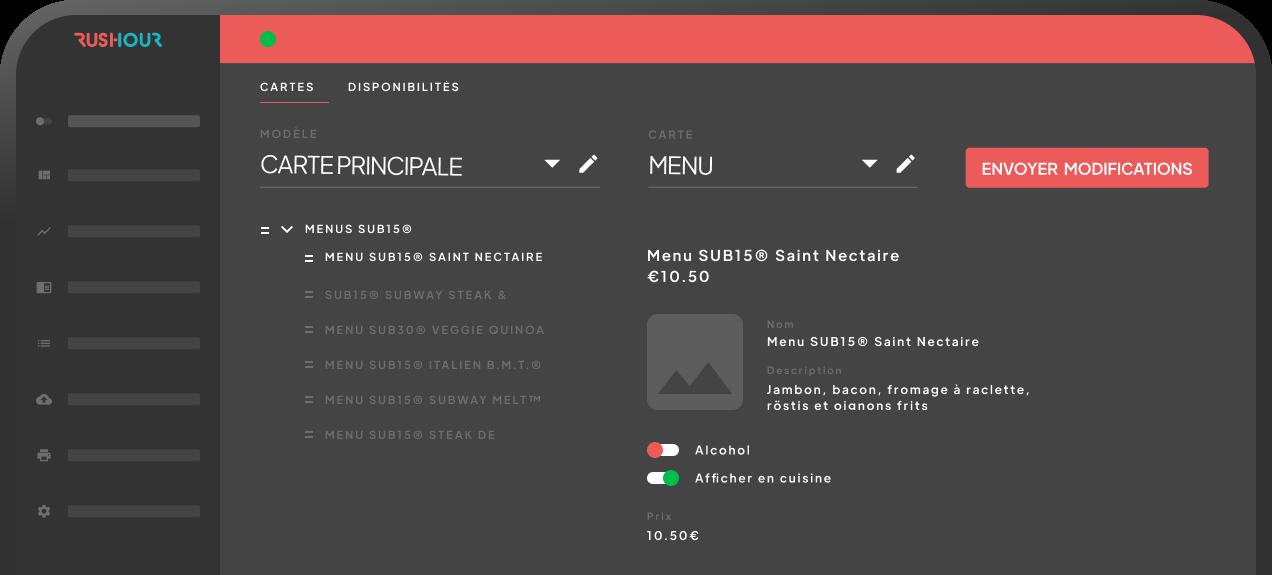 Le Menu Manager de RusHour permet d'optimiser la gestion du depuis un seul espace back-office.
