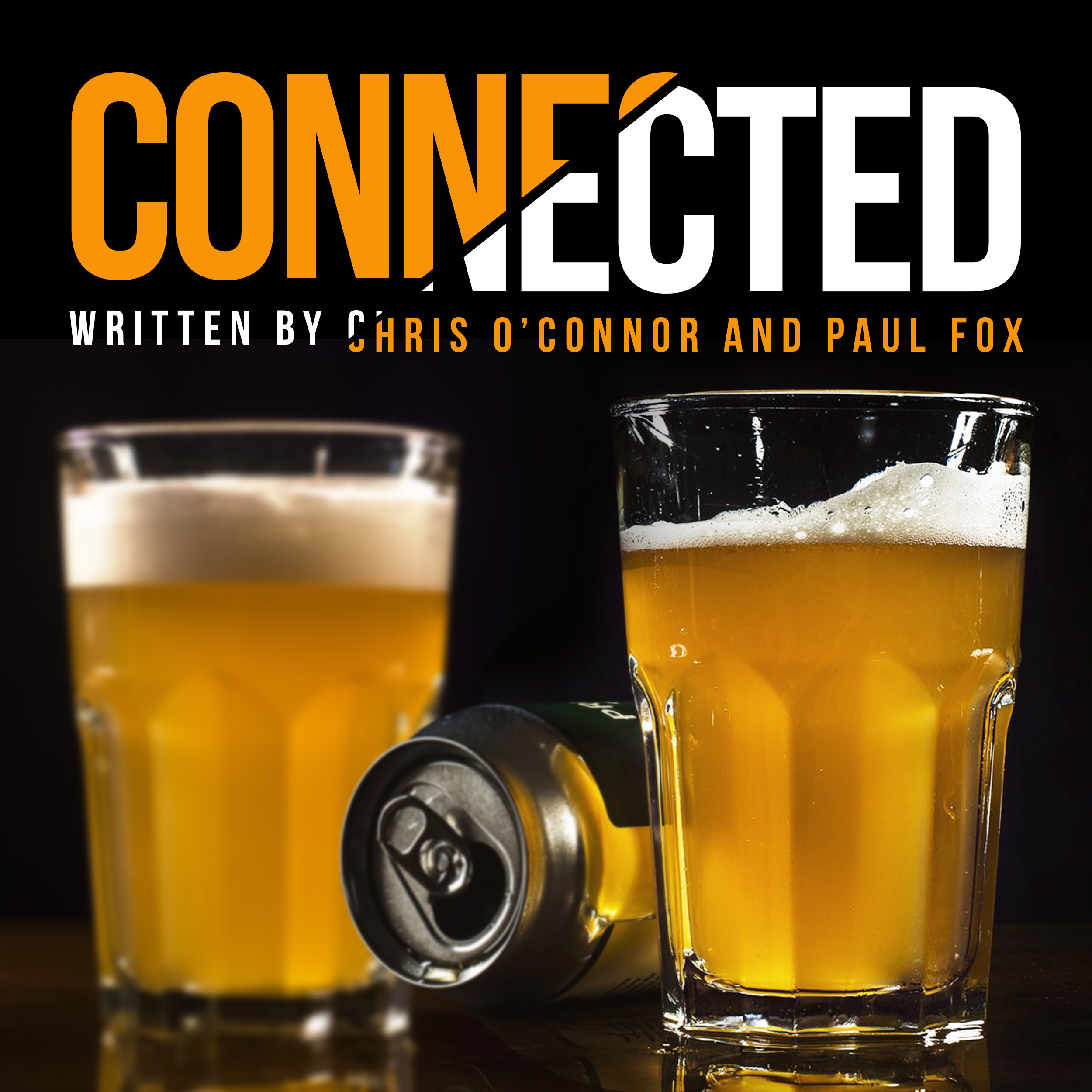 The poster for Connected featuring two halves of lager and an empty can