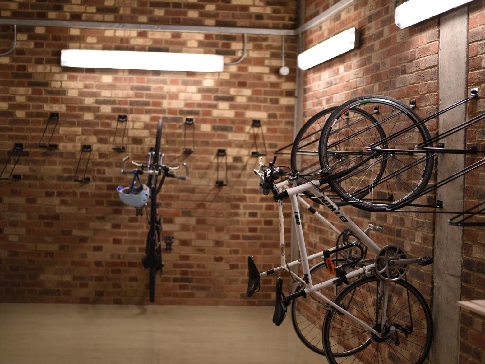 Basement bike store and racks