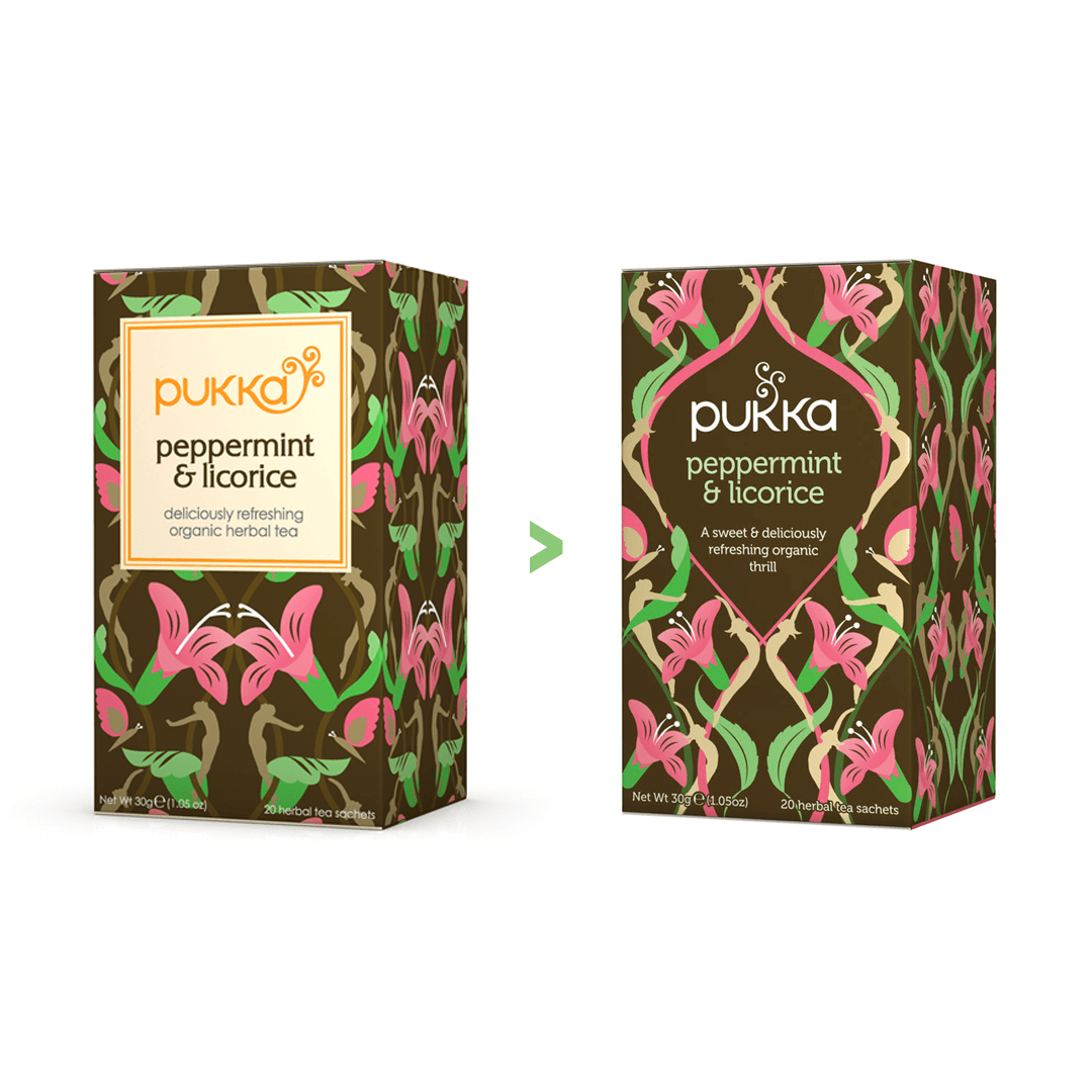 Updated Pukka Logo and packaging designed by Mutiny Agency. Pukka has always created superb products made from the finest ingredients that are vibrant and delicious to help improve our mental and physical wellbeing. The brand and packaging needed to reflect this and make it stand out on crowded shelves to tell its product story. Mutiny Agency worked with Space Creative to develop and the Pukka Brand and designed the packaging for the range of herbal teas and vitamins.