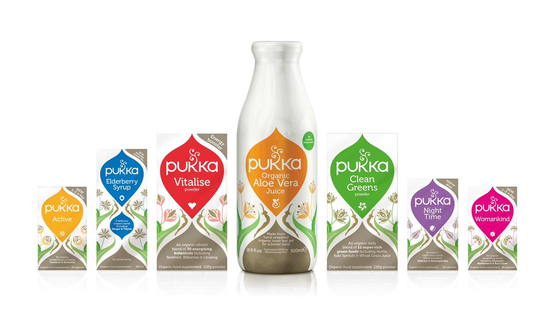 Pukka range of herbal supplements designed and illustrated by Mutiny Agency.  Beautiful packaging design and illustrations by Mutiny Agency for Pukka.