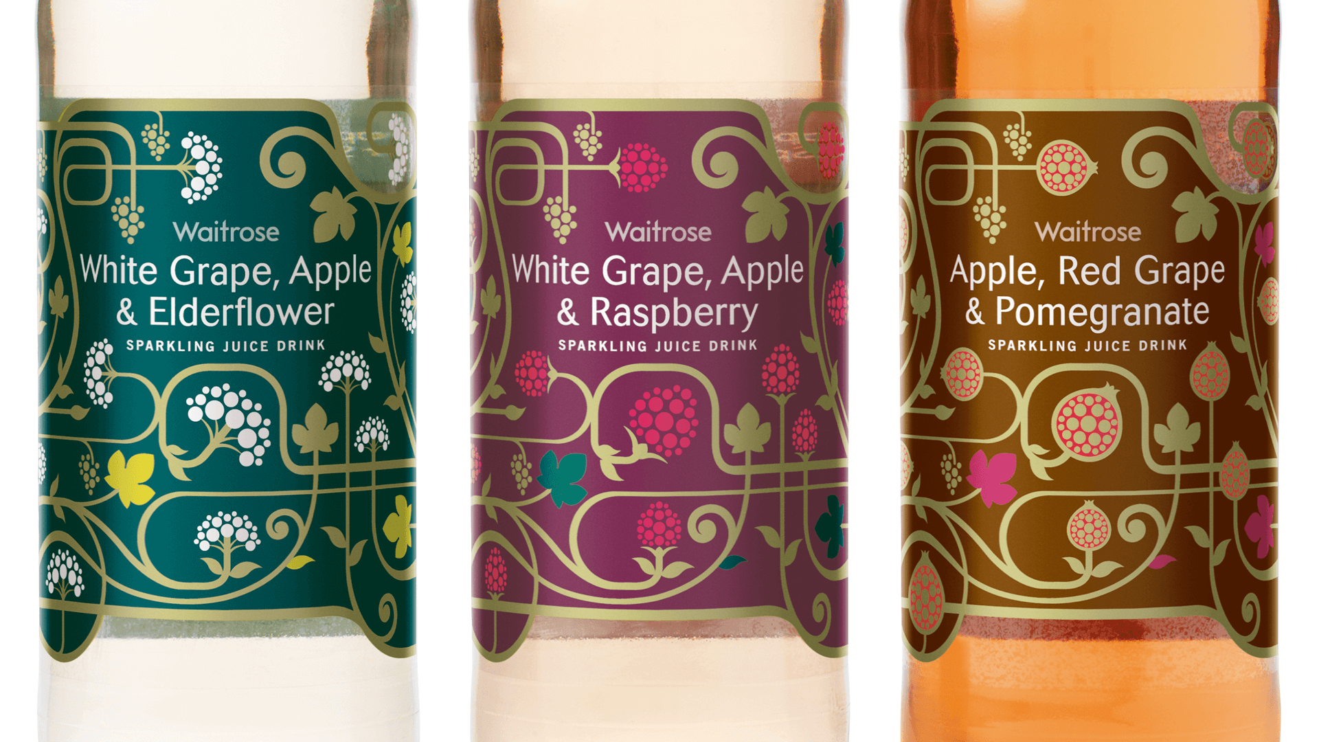 Waitrose Sparkling Juice drinks Award winning Packaging designed by Mutiny Agency and Turner Duckworth London. Beautiful botanical graphics and illustrations by Mutiny Agency.  Waitrose White Grape, Apple and Elderflower sparkling juice drink bottle label botanical design created by Mutiny Agency. Waitrose White Grape, Apple and Raspberry Sparkling juice drink, botanical design created by Mutiny Agency. Waitrose Apple, Red Grape and Pomegranate label design by Mutiny Agency.