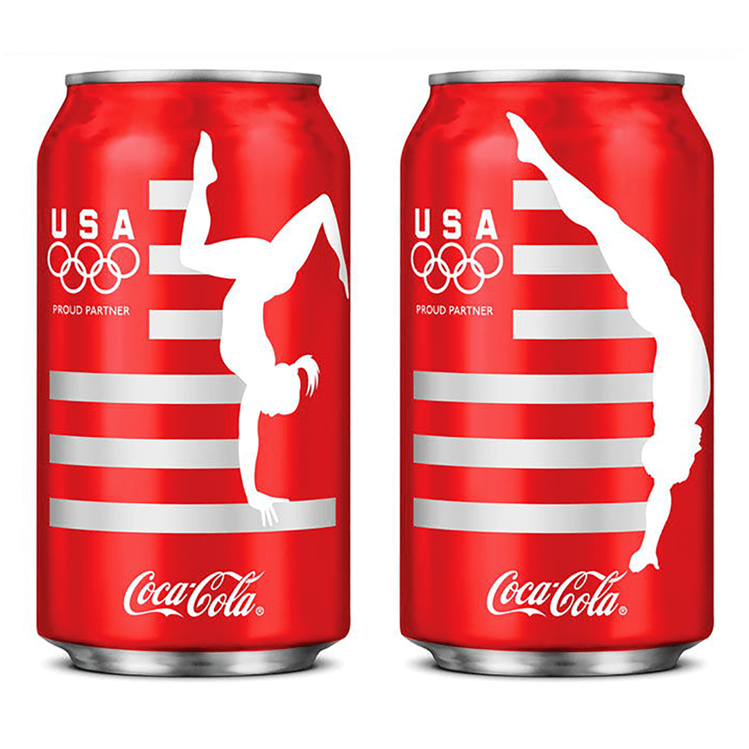 Coca-Cola London Olympics 2012 can and packaging design by Mutiny Agency. Silhouettes that captured the likeness of the Olympic gymnasts  and divers. Coca-Cola connected with the global audience using the USA Olympic Team to star on the iconic limited-edition cans. Packaging Design, London Olympics, Coca-Cola designed by Mutiny Agency.