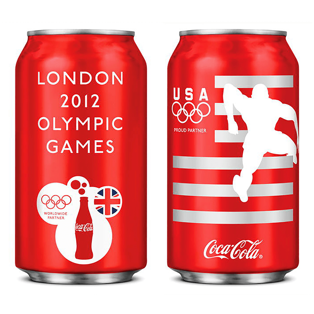 The London Olympics 2012 gave Mutiny Agency a chance to work Turner Duckworth San Francisco to help Coca-Cola connect with the global audience using the USA Olympic Team to star on the iconic limited-edition cans. Packaging Design, London Olympics, Coca-Cola designed by Mutiny Agency.