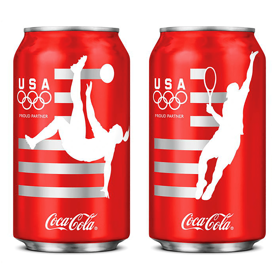Coca-Cola collectible cans designed for The London Olympics 2012 by Mutiny Agency and Turner Duckworth San Francisco . Coca-Cola connected with the global audience using the USA Olympic Team to star on the iconic limited-edition cans. Packaging Design, London Olympics, Coca-Cola designed by Mutiny Agency.