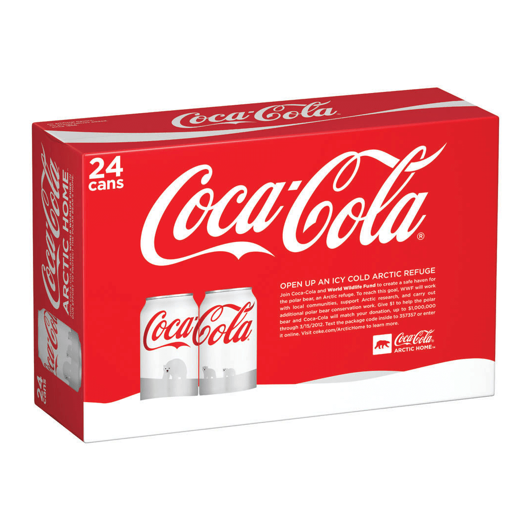 Coca-Cola arctic home packaging and can design by Mutiny Agency. Mutiny Agency designed the Coca-Cola Polar Bear World Wildlife Fund can design and logo. Working with Turner Duckworth San Francisco Mutiny Agency designed the packaging and cans which became the marketing and the vehicle for conversation. Packaging Design for Coca-Cola designed by Mutiny Agency.