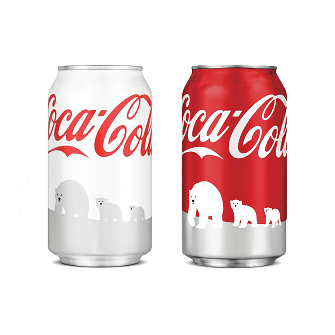 Mutiny Agency designed the Coca-Cola Polar Bear World Wildlife Fund can design and logo. Working with Turner Duckworth San Francisco Mutiny Agency created the iconic polar bears and styling that adorned every can and piece of packaging and turned the iconic Coke cans white for the first time in Cokes history.