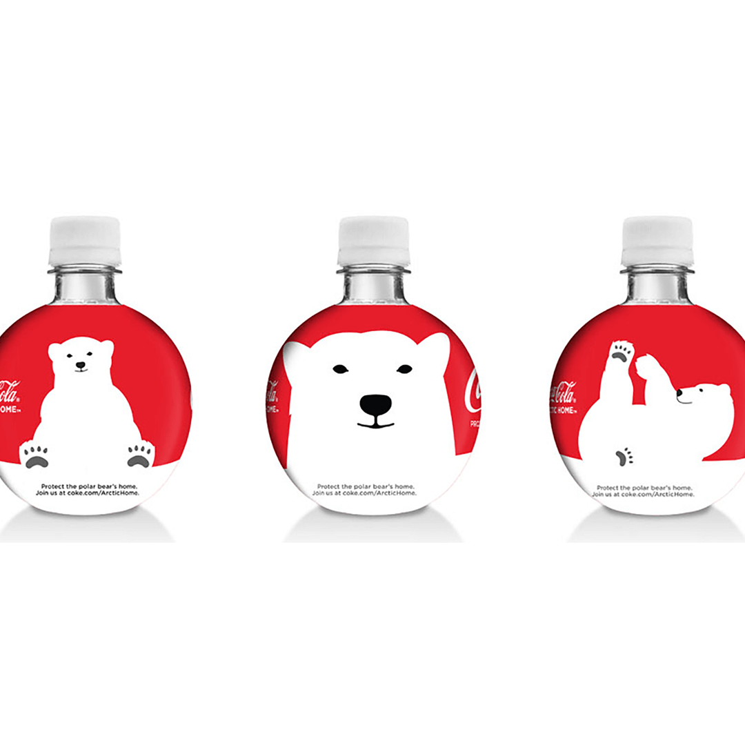 Coca-Cola Polar Bear World Wildlife Fund can design and logo. Gulp bottles designed for Coca-Cola by Mutiny Agency. Working with Turner Duckworth San Francisco Mutiny Agency designed the packaging and cans which became the marketing and the vehicle for conversation The success of the campaign highlights the effectiveness of collaboration when two brands individual expertise align to create lasting change.