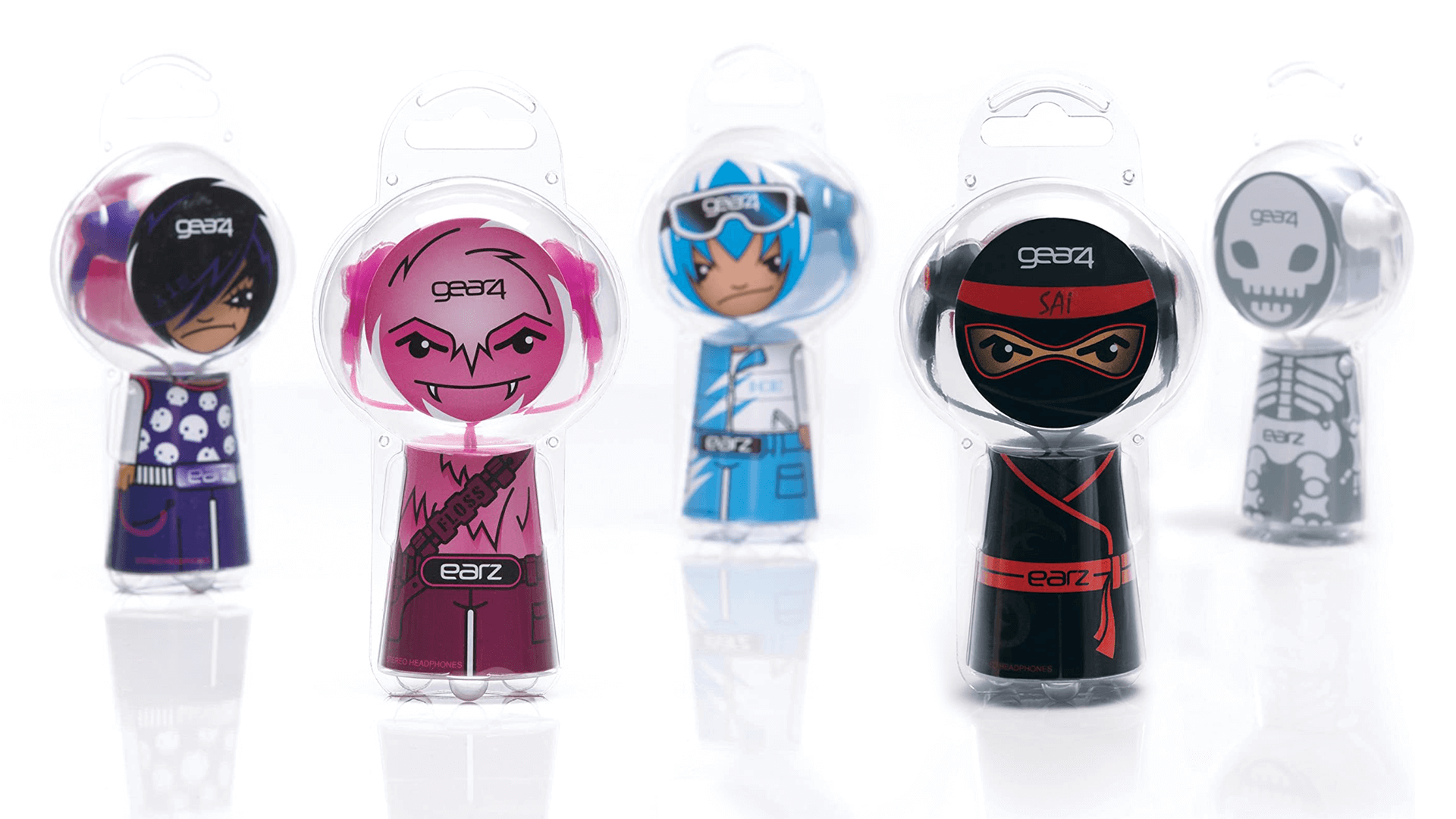 Mutiny Agency worked with Gear 4 to design the packaging and create characters for a children's range of headphones called EARZ. Funky packaging and youthful character design created a successful headphone range reflective of youth market and depicts musical tastes and connects with a younger market with fun and engaging packaging design and character design and illustrations created by Mutiny Agency.