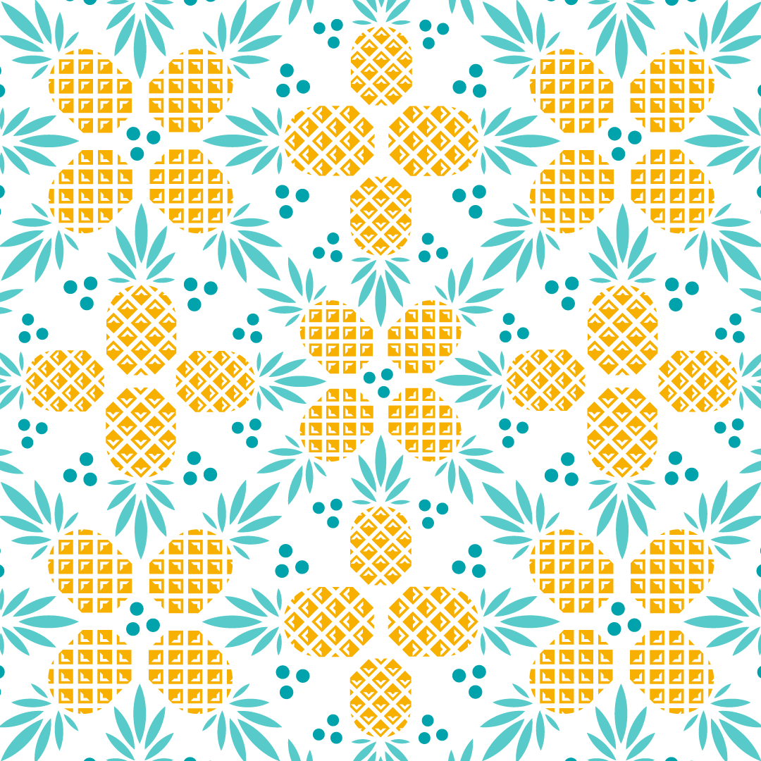 Spirited Union Distillery Anana Colada cocktail Packaging design, Surface pattern design, repeat pattern and illustrations created by Mutiny Agency.